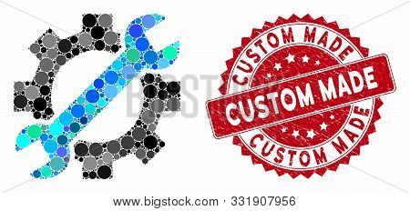 Mosaic Service Tools And Grunge Stamp Watermark With Custom Made Phrase. Mosaic Vector Is Composed W