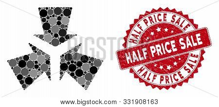 Mosaic Shrink Arrows And Distressed Stamp Seal With Half Price Sale Text. Mosaic Vector Is Composed