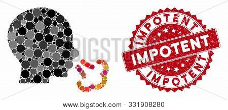 Mosaic Sneezing And Corroded Stamp Seal With Impotent Caption. Mosaic Vector Is Created With Sneezin