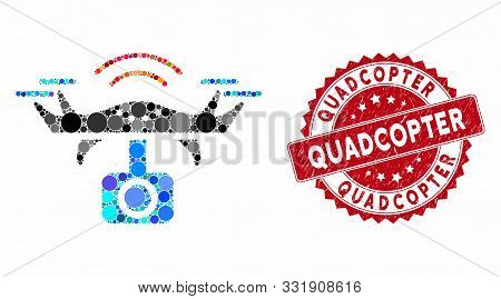 Mosaic Spy Drone And Rubber Stamp Seal With Quadcopter Caption. Mosaic Vector Is Formed With Spy Dro