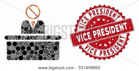 Collage Stupid Clerk And Rubber Stamp Watermark With Vice President Caption. Mosaic Vector Is Design