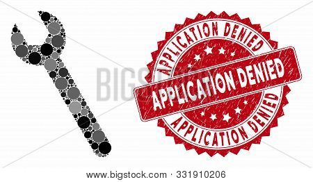 Mosaic Wrench And Corroded Stamp Seal With Application Denied Phrase. Mosaic Vector Is Formed With W