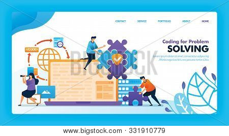 Landing Page Vector Design Of Coding For Problem Solving. Easy To Edit And Customize. Modern Flat De