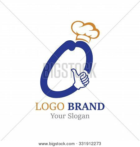 O Letter With Hand Creative Concept Chef Template Design