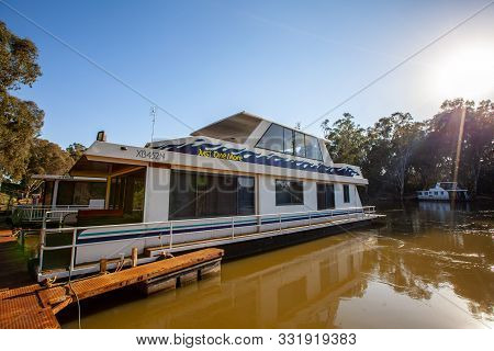 Moama,  Australia - October 3, 2019: Large Houseboat On Murray River