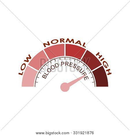High Blood Pressure Concept. Color Scale With Arrow. The Measuring Device Icon. Vector Illustration