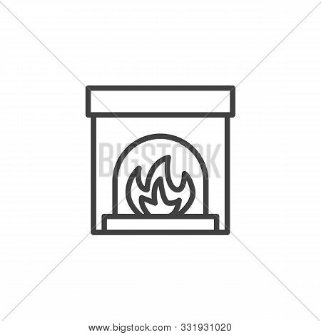 Fireplace With Burning Fire Line Icon. Linear Style Sign For Mobile Concept And Web Design. Christma