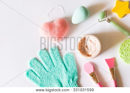 Pink Strawberry Scrub, Silicon Brushes, Green Jade Roller, Exfoliating Glove And Different Shapes Sp