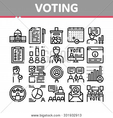 Voting And Election Collection Icons Set Vector Thin Line. Congress Building And Monitor, Calendar A