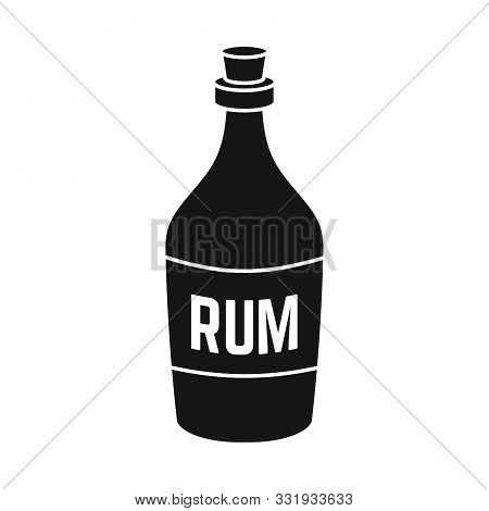 Vector Illustration Of Rum And Bottle Sign. Graphic Of Rum And Alcohol Vector Icon For Stock.
