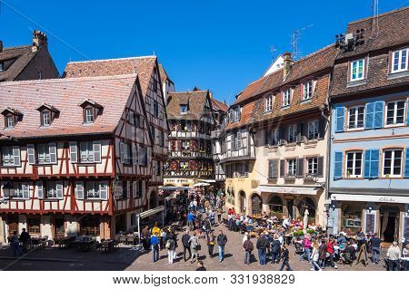 Colmar, France - April 30, 2017: People Walking In Historic Center Of Old Town In Colmar, Alsace, Ea
