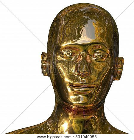 Robot Iron Head Golden Man Android Face Polished Solid. Futuristic Cyborg Android Friendly Artificia