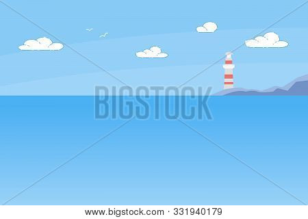 Lighthouse Tower Standing On Rocky Seashore Under Sun Shining In Blue Cloudy Sky. Marine Landscape W