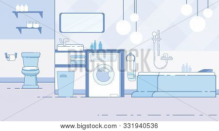 Home, Apartment Or Hotel Room Bathroom, Toilet Modern Interior Flat Vector Background With Contempor