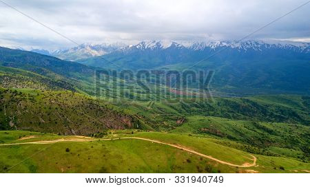 Kazakhstan Shymkent Aerial View The Ice Mountain This Is A Beautiful Landscape In The Sairam Ugam St