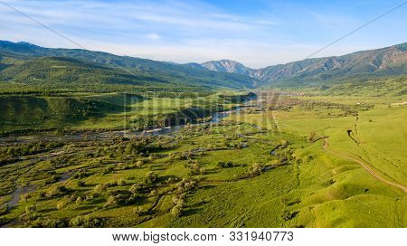 Kazakhstan Shymkent Aerial View The River And Mountain This Is A Beautiful Landscape In The Sayram U