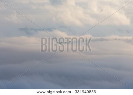 Foggy Landscape And The Little Forest In The Aerial View