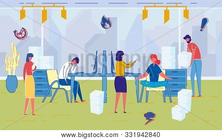 Office And Company Employees Working Hard. People Cartoon Characters Working, Cooperating And Restin