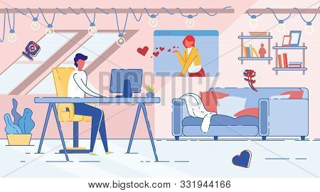 Online Date, Man And Woman Communicate Over Computer In Dating Chat. Modern Social Media Internet Co