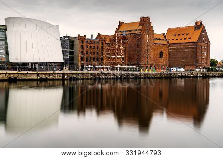 Stralsund, Germany - August 1, 2019: Scenic View Of The Harbour And The Ozeaneum Aquarium In Stralsu
