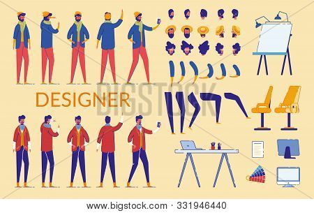 Man Characters Designer Constructor Flat Cartoon Vector Illustration. Bearded Male Creation Set With