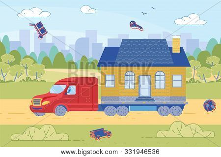 Truck Hauling Little House On Road Against Urban Buildings Background. House Moving And Relocation M