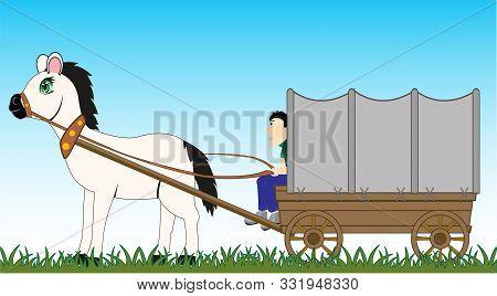 Man Coachman On In Wooden Van By Covered Tarpaulin