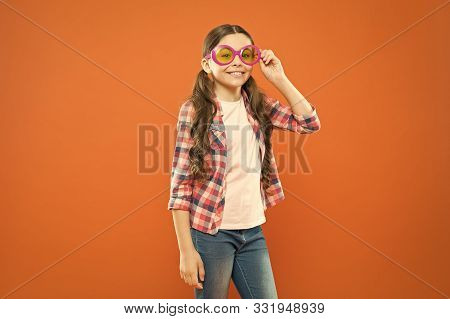 Eyeglasses Perfect For Her Style. Little Child Looking Happy In Fashion Eyeglasses. Small Kid Smilin