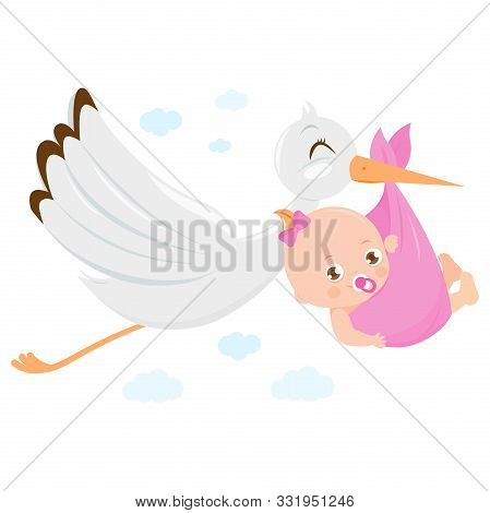 Vector Illustration Of A Stork Flying In The Sky And Delivering A Cute Newborn Baby Girl.
