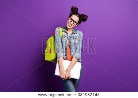 Portrait Of Sweet Cute Girlish High School Girl Ready For University Seminar Lecture Hold Computer W