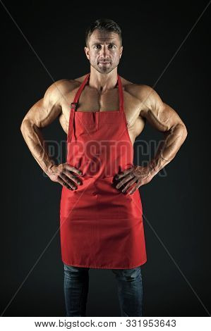 I Will Make It Tasty. Man Attractive Nude Chef Wear Apron. Sexy Muscular Chef Black Background. Attr