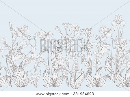 Spring Flowers. Narcissus, Iris Flower, Lily Of The Valley, May-lily, Seamless Pattern, Background.