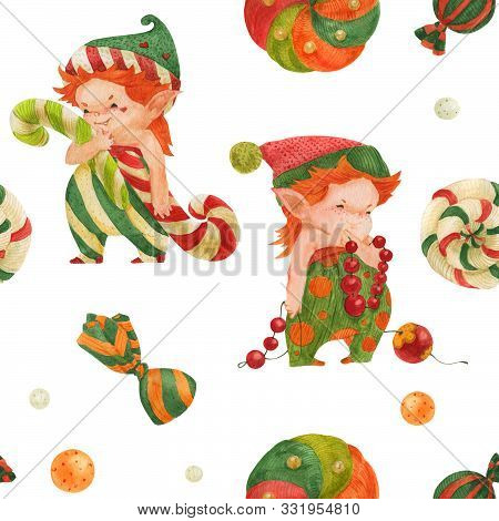 Christmas Elves Story Seamless Watercolor Pattern, Elves And Candy Canes On A White