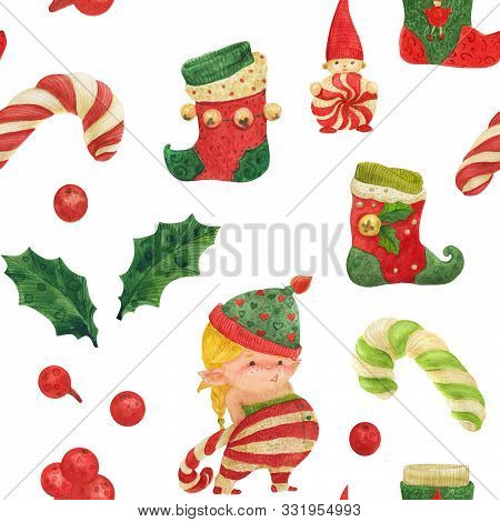 Christmas Elves Story Seamless Pattern, Girl Elf With Candy Cane And Stocking On A White Background
