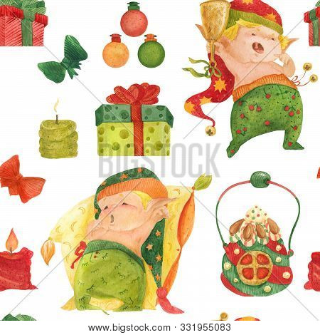 Christmas Elves Story Seamless Watercolor Pattern For Good Night, Baby Elves And Candles Ans Gift Bo