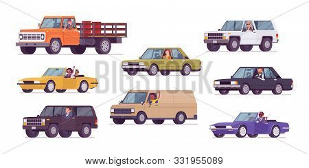 Cars And Drivers Set, Business Transportation, Urban Trip. Male, Female Persons Driving Different Ve