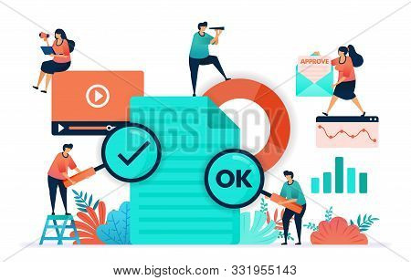 Paperwork Flat Vector Design. Ok Or Yes On The Video Content Or Document Submitted. Document Statist