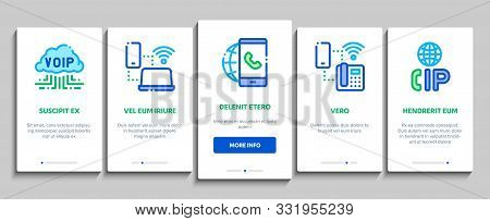 Voip Calling System Onboarding Mobile App Page Screen Vector Thin Line. Server For Voice Ip And Clou