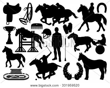 Equestrian Sport And Horse Riding Icons Isolated. Vector Horseshoe, Whip And Helmet, Polo Jockey And