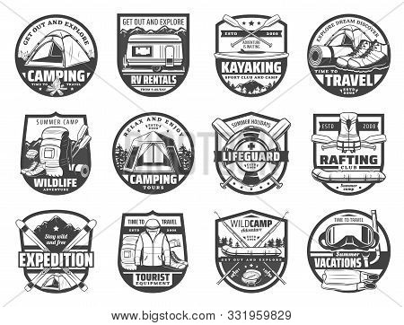 Travel And Recreation, Sport Adventure Isolated Hobbies Icons. Vector Camping And Tent, Trucks On Re