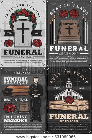 Funeral Service And Retro Burial Ceremony Agency. Vector Cemetery Crosses, Christian Church Chapel A