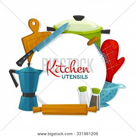 Kitchen Utensils And Appliances Round Frame. Vector Cooking Pot, Bakery Glove And Colander, Salt Pep