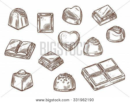 Chocolate Candies And Sweets Isolated Sketch Icons. Vector Cacao Bars And Brown Chocolate With Nuts