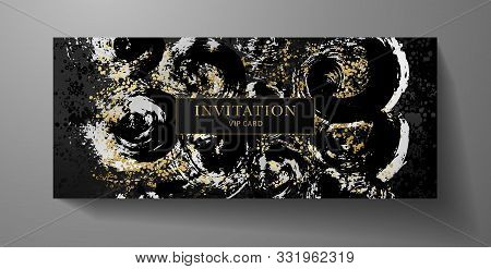 Luxurious Vip Invitation Template With Surreal Silver, Gold Abstract Texture On Black Background. Pr