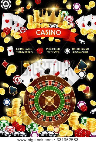 Gambling Games, Poker Club And Online Casino With Slot Machine. Vector Blackjack Playing Cards, Gamb