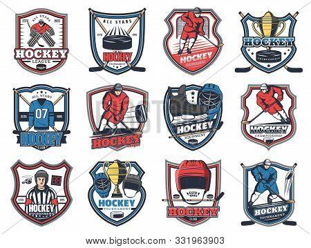 Ice Hockey League Isolated Heraldic Icons. Vector Hockey Winter Sport Championship, Tournament Club,