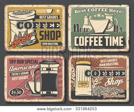 Coffee Shop Retro Cards, Beans In Sack And Cup Of Hot Drink. Vector Americano And Kettle, Steaming M