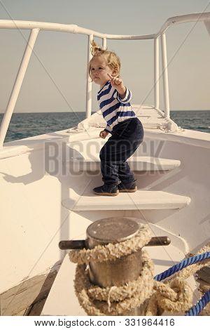 Boy Sailor Striped Shirt Sea Yacht Travel Around World. Little Sea Traveller. Beach Is Calling And W
