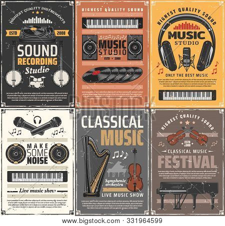 Music Instruments And Retro Sound Recording Studios. Vector Live Classical Music, Vinyl Disk And Ban