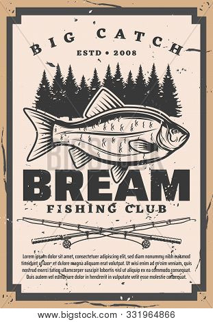 Bream Fishing Club, Retro Big Catch On Fishery. Vector Catches Fish And Forest Trees Silhouettes, Fi